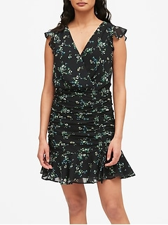 Petite Print Ruched Mini Dress