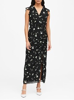 Print Ruched Maxi Dress