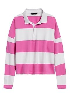 Cropped Rugby Stripe Polo
