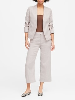 Collarless Linen-Cotton Blazer
