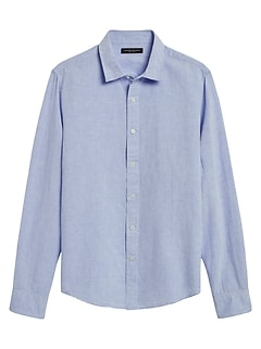 Untucked Slim-Fit Linen-Cotton Shirt