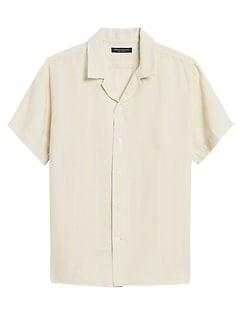Slim-Fit Linen Camp Shirt