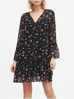 Floral Clip-Dot Drop-Waist Dress