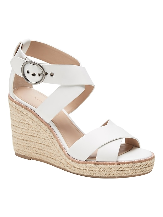 Leather  Espadrille Wedge Sandal