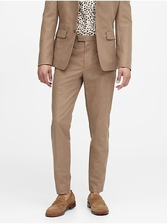 Slim Tapered Italian Cotton-Linen Suit Pant