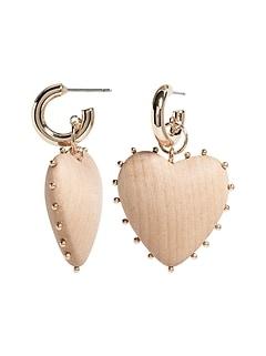 Wood Heart Hoop Earrings