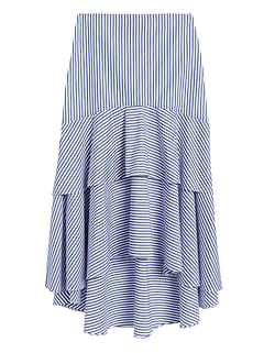 Stripe Poplin High-Low Skirt