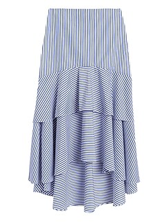 Petite Stripe Poplin High-Low Skirt