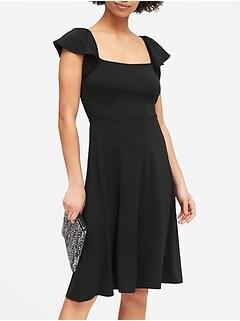 Petite Square-Neck Midi Dress