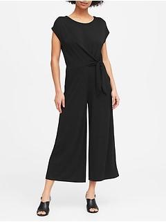 Petite Tie-Front Cropped Jumpsuit