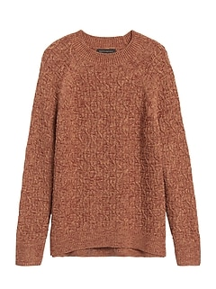 Petite Marled Cable-Knit Sweater