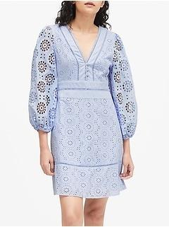 Eyelet Puff-Sleeve Mini Dress