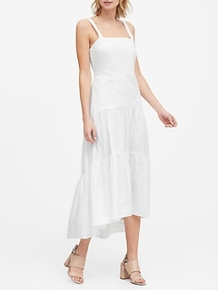 Petite Poplin Tiered Maxi Dress