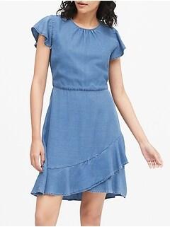 TENCEL™ Flutter-Sleeve Mini Dress