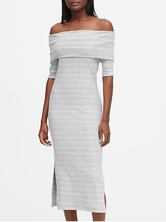 Petite Ribbed Off-the-Shoulder Dress