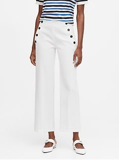 Petite Slim Wide-Leg Cropped Sailor Pant