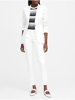 Long & Lean-Fit Linen-Cotton Blazer