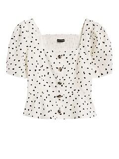Linen-Cotton Puff-Sleeve Top