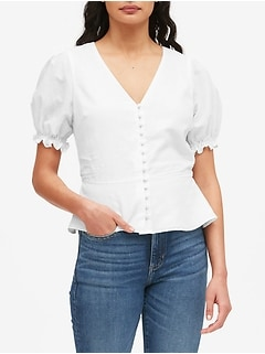 Linen-Cotton Peplum Top