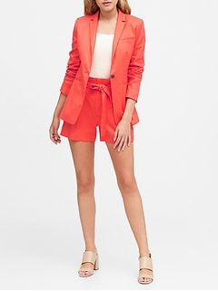 Petite Long & Lean-Fit Linen-Cotton Blazer