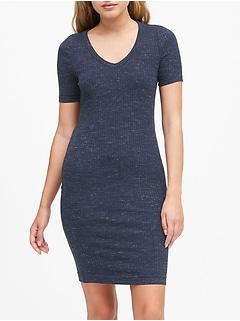 Petite Spacedye Ribbed V-Neck T-Shirt Dress
