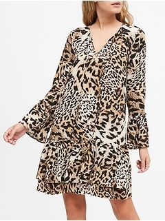 Petite Leopard Print Drop-Waist Dress