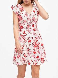 Linen-Cotton Button-Front Mini Dress
