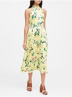 Petite Floral Soft Satin Midi Dress