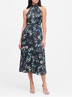 Petite Floral Soft Satin Midi Dress