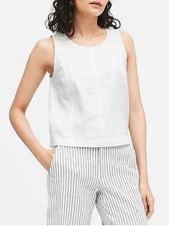 Petite Linen-Cotton Cropped Shell