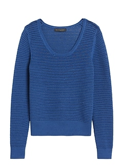 Pointelle Cropped Sweater