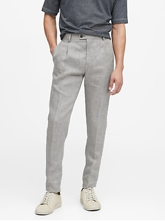 Heritage Slim Tapered Pleated Linen Pant