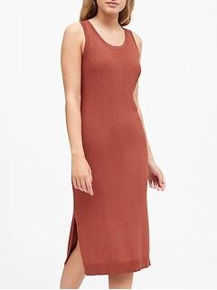 Petite Metallic Scoop-Neck Sweater Dress