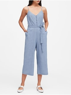 Chambray Wide-Leg Cropped Jumpsuit