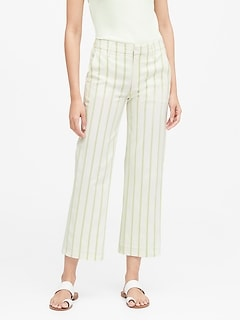 Petite Slim Wide-Leg Stripe Cropped Pant