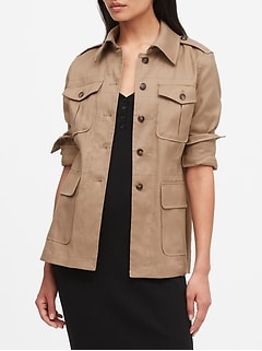Petite Linen-Cotton Safari Jacket