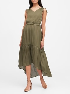 Petite Satin Ruched Maxi Dress