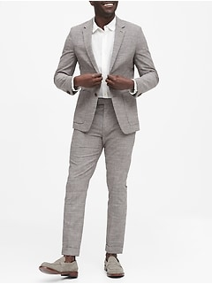 Slim Italian Plaid Suit Jacket
