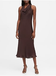 Satin Cowl-Neck Slip Dress