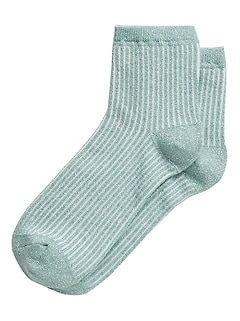 Metallic Ribbed Ankle Sock