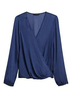 Petite Soft Satin Wrap-Effect Top