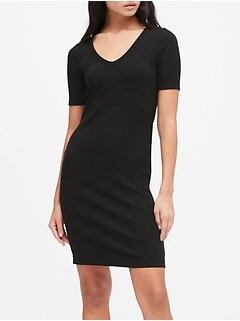 Ribbed V-Neck T-Shirt Dress