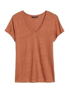 Linen V-Neck T-Shirt