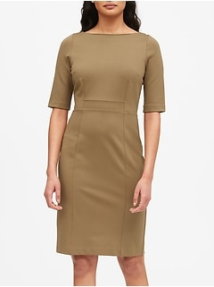 Ponte Boat-Neck Sheath Dress