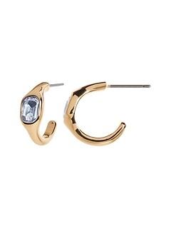 Petites boucles d'oreilles anneaux à pierre bleue