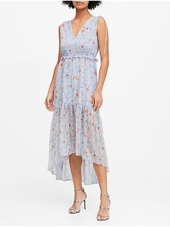 Petite Floral Ruched Maxi Dress