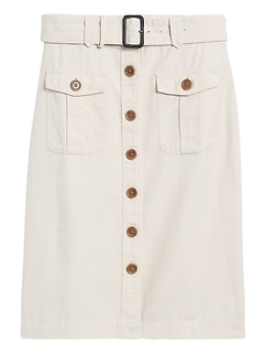 Petite Heritage Cotton-Linen Safari Skirt