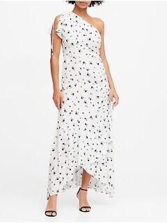 Floral Ruched One-Shoulder Dress