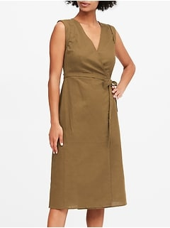 Petite Linen-Cotton Wrap Dress