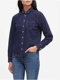 Petite Quinn Straight-Fit Denim Shirt